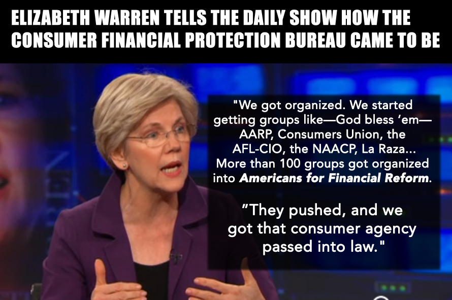 Senator Elizabeth Warren on the importance of Americans for Financial Reform
