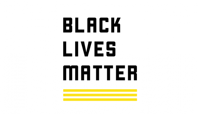 Black Lives Matter in black font over a yellow underscore line
