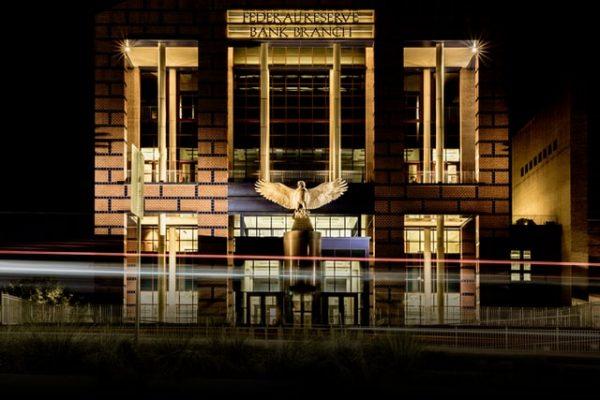 eagle statue outside a federal reserve bank