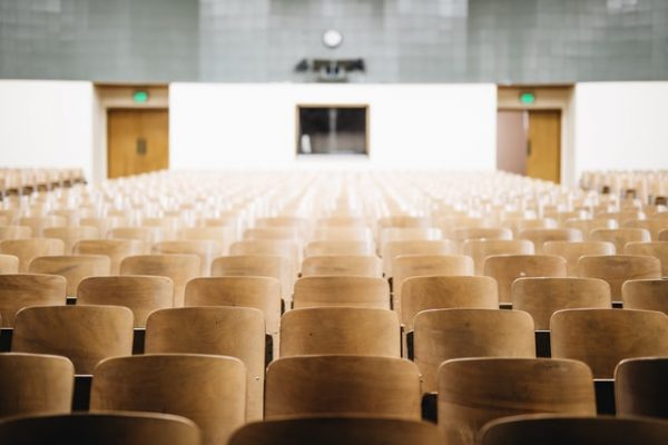 an empty university auditorium